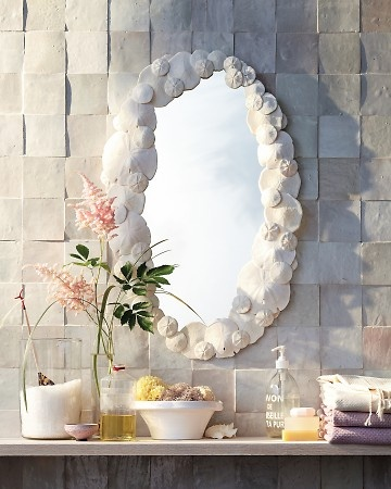 Sand Dollar Mirror: Shells Mirror, Sea Shells, Seashells Crafts, Dollar Mirror, Dollar Crafts, Mirror Crafts, Martha Stewart Crafts, Beaches Houses, Sands Dollar