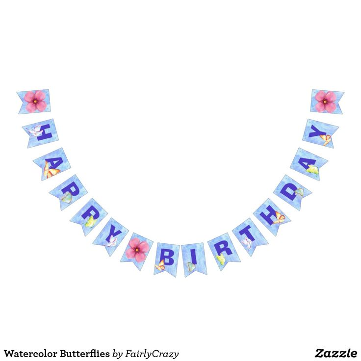 Watercolor Butterflies Happy Birthday Garland #party #partydecorations #bunting