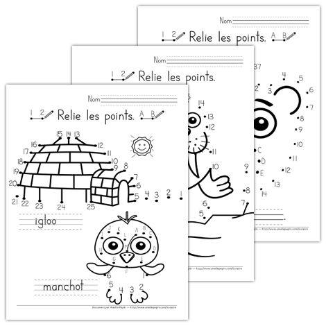 Fichier PDF téléchargeable En noir et blanc seulement 3 pages  Ce document contient 3 pages de jeux où l'enfant doit relier les points pour former des animaux polaires. Il doit savoir compter jusqu'à 25(pour la feuille la plus facile) et doit connaître l'ordre alphabétique.