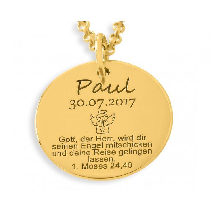 Wunderschöne Taufkette aus 925er Sterling Silber in Juwelierqualität hochwertig vergoldet. Das Plättchen ist ca. 1,7 cm groß und kann mit Ihren Wunschdaten bzw. Wunschtext designed werden.
