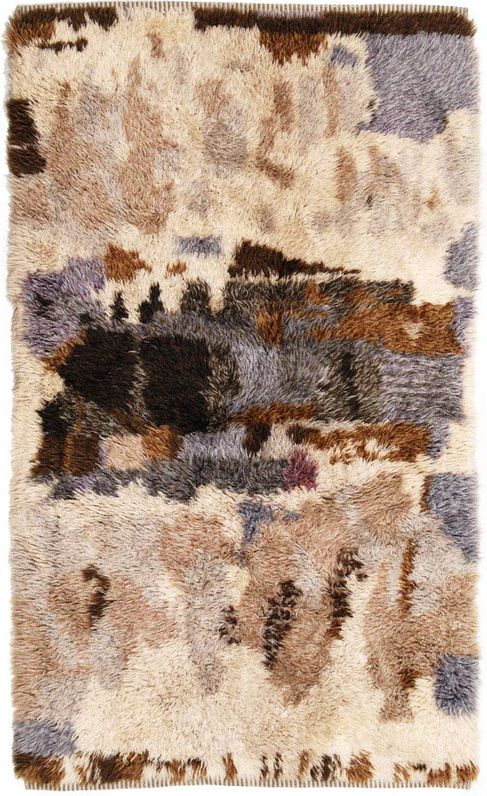 Brit Fuglevaag; Hand-Knotted Wool Rya Rug for Sellgren, 1960s.