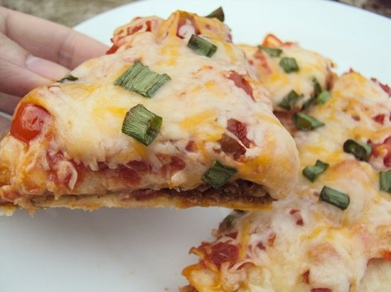 Copycat Taco Bell Mexican Pizza *BETHANY'S REVIEW: Really really fixes that craving for Taco Bell without the processed meat and added calories! We used burrito sized tortillas and one pizza per person was more than