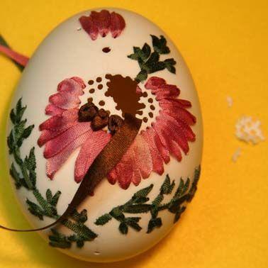 silk ribbon eggs, photos and hints