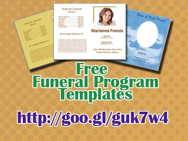 Free Funeral Programs Free Funeral Program Templates For Microsoft Word To Download Http .