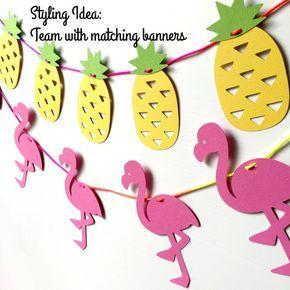 Pink flamingo banner. Birthday party bunting, garland, photo prop