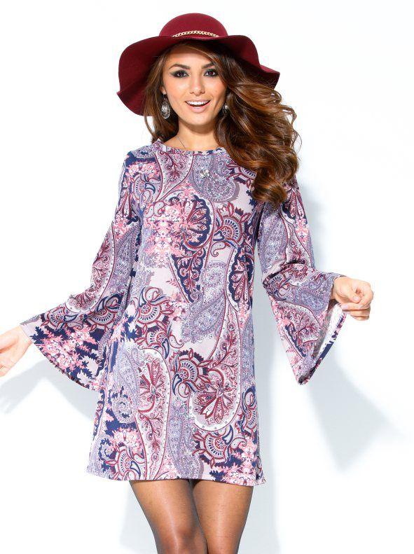 Vestido manga larga acampanada fino tricot. Con este vestido de fino tricot revivirás el espíritu hippie de los años 60, gracias a su manga acampanada que a