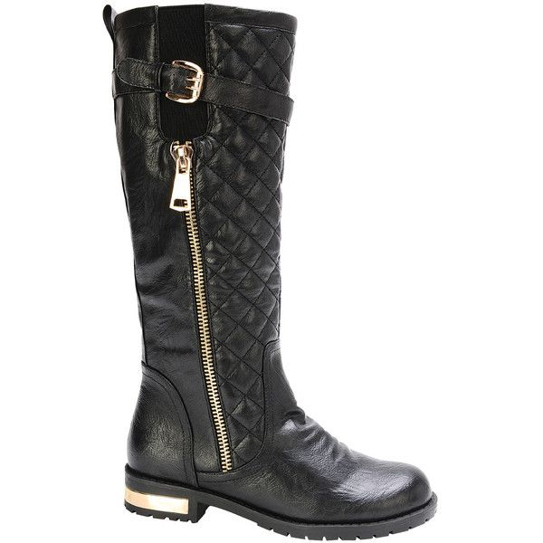 Nature Breeze Black Quilted Gold Coast Boot ($14) ❤ liked on Polyvore featuring shoes, boots, knee-high boots, shiny black boots, short heel boots, black low heel boots, low heel boots and black quilted boots