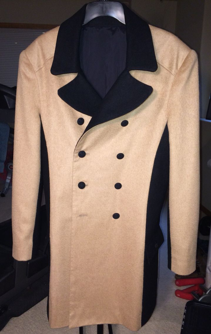 Color blocked, double breasted, knee length trench coat made from camel hair and cashmere