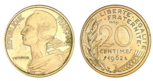 monnaie francaise | 20 centimes Lagriffoul 1962 - Essai Réf. : vso7-1462 - Prix : 120.00 ...