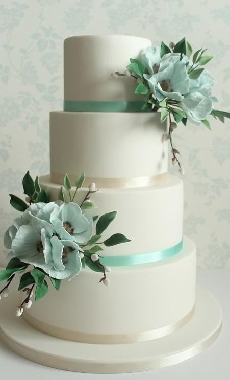 Blue Poppies Wedding Cake - Cake by ClearlyCake