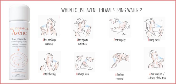 Benefits  You will feel wrapped in soothing softness.  All the gentle purity of Avène Thermal Spring Water provides you with long-lasting protection.  Following a surgical procedure Facial redness Skin irritation Sunburn Diaper rash Following make-up removal Following shaving Following exercise Following hair removal During travel to cool oneself