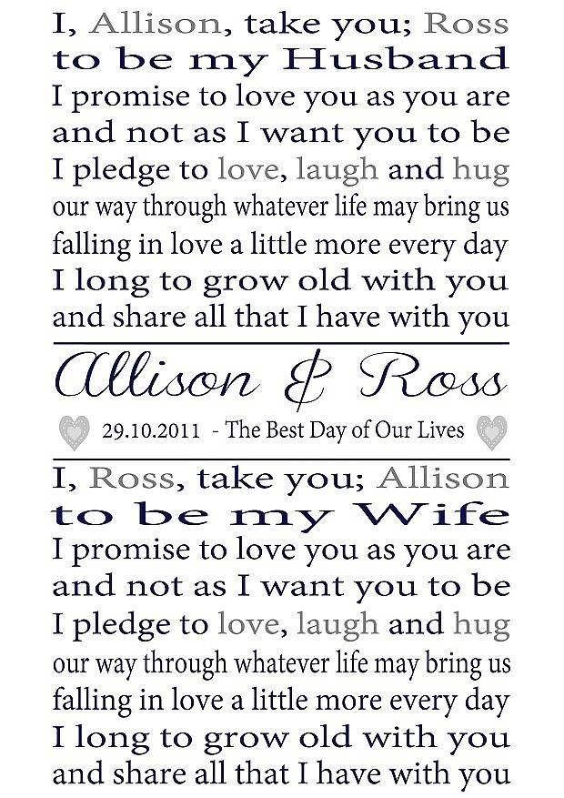 Personalised Wedding Vows Print #weddingstyle #weddings #vows repinned by www.hopeandgrace.co.uk