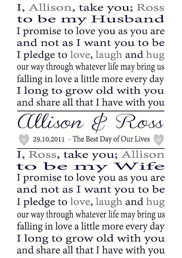 personalised wedding vows print