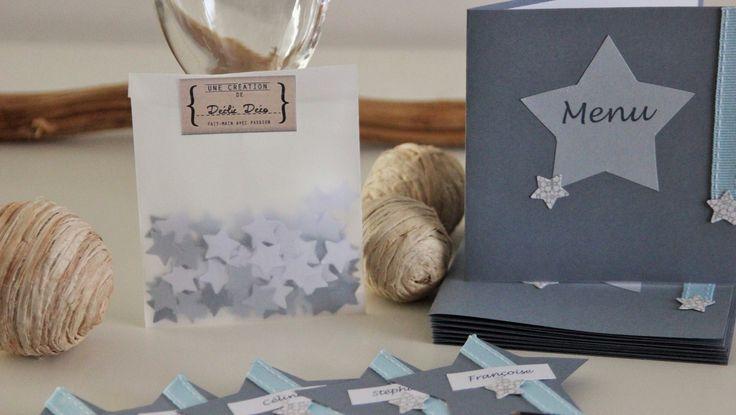 100 confettis de table toile bleu blanc et gris - Deco de table bleu et gris ...