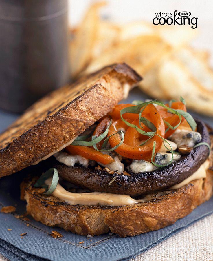 Mediterranean Grilled Mushroom Sandwich #recipe