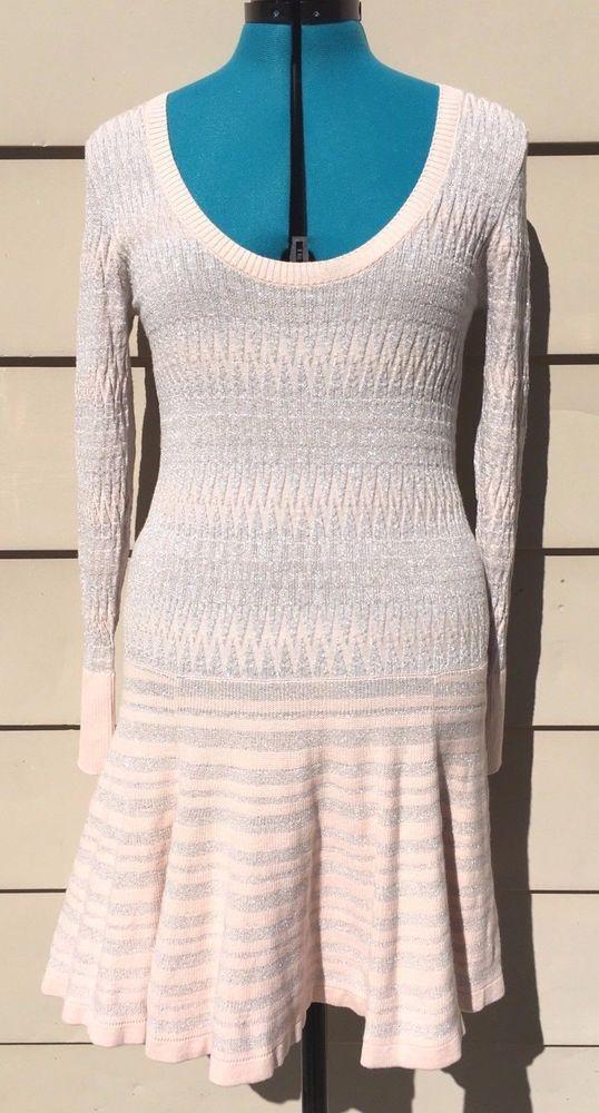 Victoria's Secret Womens Long Sleeve Pink And Silver Sparkle Sweater Dress Sz M #VictoriasSecret #SweaterDress #Dressy