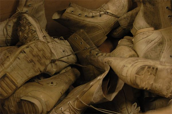 Worn boots of soldiers in Norway as part of a NATO cold-weather exercise