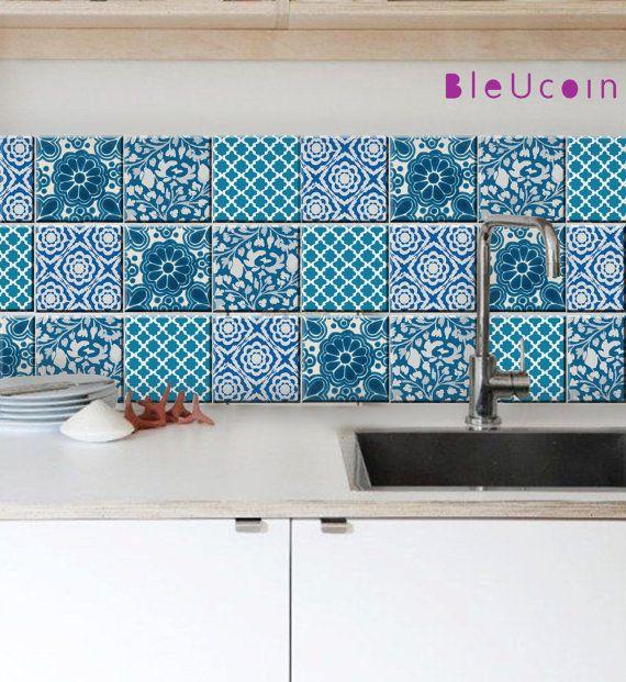 Décalque de la tuile : poterie bleu indien style-4 par Bleucoin