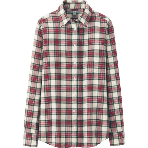 UNIQLO Women Flannel Check Long Sleeve Shirt (33 CAD) ❤ liked on Polyvore featuring tops, blouses, shirts, pink, long sleeve plaid shirt, flannel shirt, long sleeve button up shirts, pink flannel shirt and plaid button up shirts