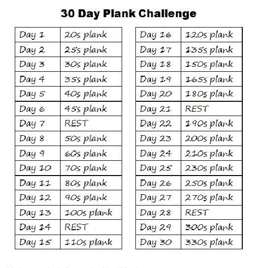 plank challenge | 30 day plank challenge | Tumblr  I will try this but I don't see myself doing a 330 s plank...