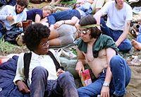 Hippies en el Festival Woodstock 1969