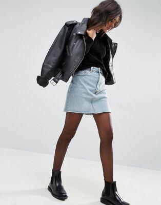 ASOS Denim High Rise Pelmet Skirt in Carnation Light Stonewash