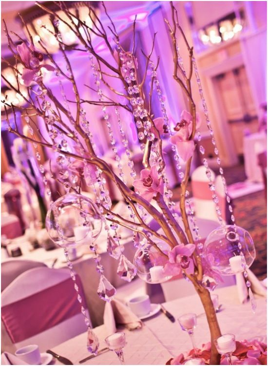 Wedding Reception: Glamorous Centerpieces with Sparkly Dangling Crystals - MODwedding