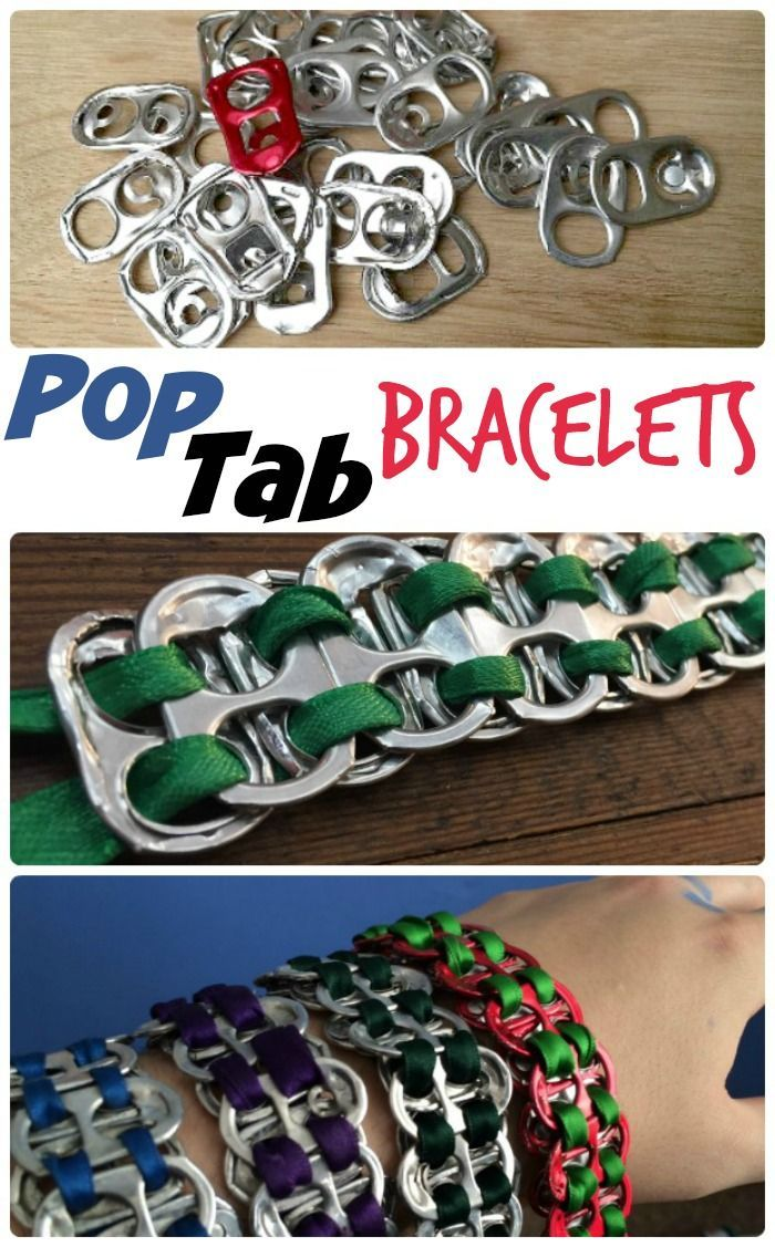 Fun Soda Pop Tab Bracelets - these are funky upcycled bracelets that will appeal to both boys and girls. The teenagers are going crazy for them! Make them at Summer Camp!