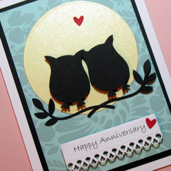 Anniversary Card, Owls Silhouette Handmade Greeting Card ...
