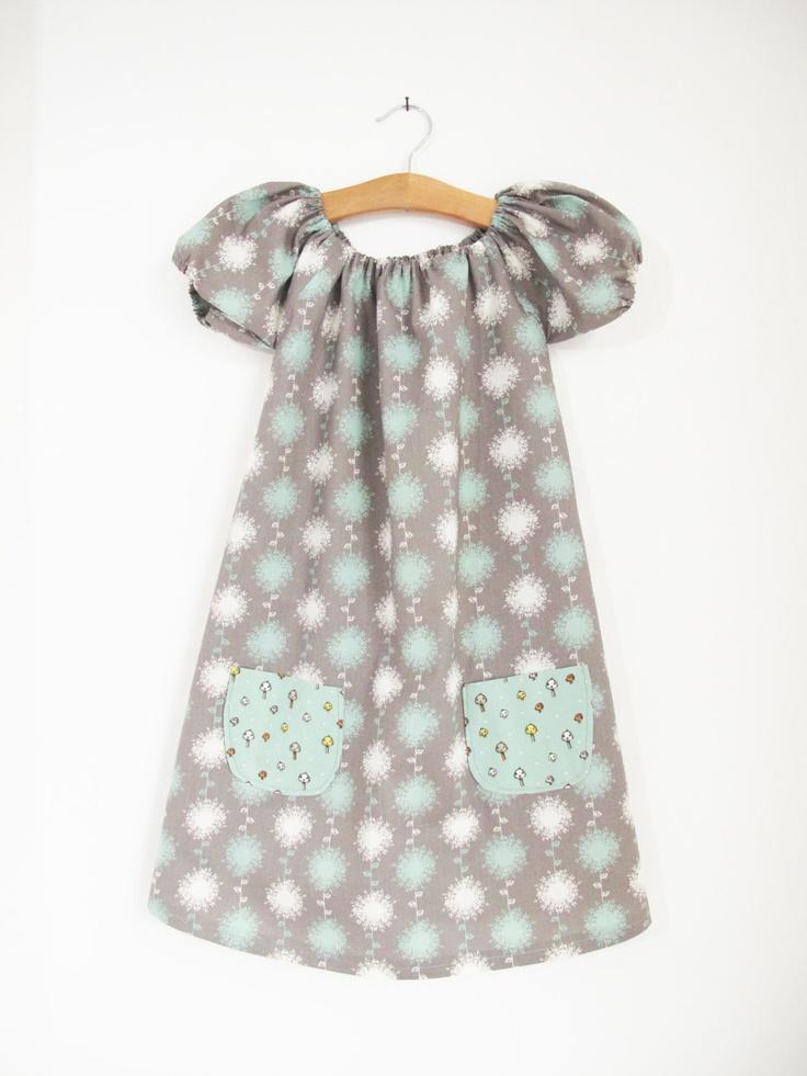 Organic Dandelion Shroom Peasant Dress, Age 4. £30.00, via Etsy.