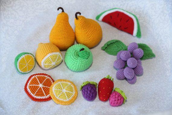 11 Pieces  Crochet Fruit  great Set  от SlingNecklaceAndToys