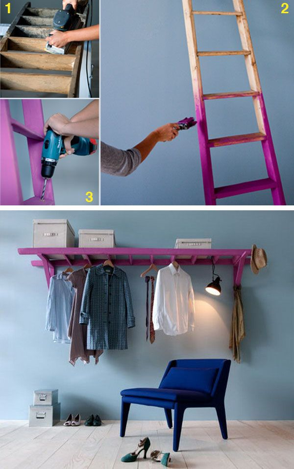 Use a Ladder and 2 Wooden Brackets to Make a Decorative Clothes Rack.:
