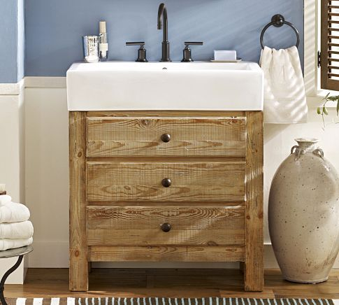 Mason reclaimed wood single sink console wax pine finish for Recycled bathroom sinks