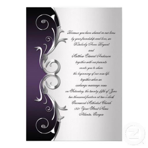 Ornate Purple Black Silver Wedding Celebration Personalized Invite