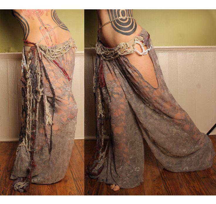 Tribal Belly Dance Harem Pants Grey Lace cut out leg. Turkish