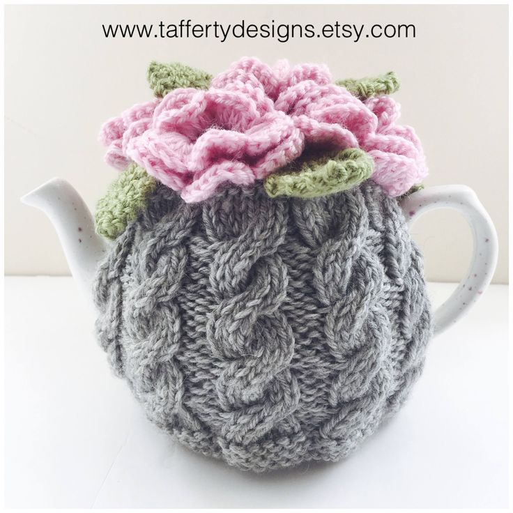 Just listed in my Etsy Shop : a beautiful little tea cosy to keep your #tea hot the stylish way. ☕️ https://www.etsy.com/uk/listing/548912111/hand-knitted-floral-cabled-tea-cosy-in