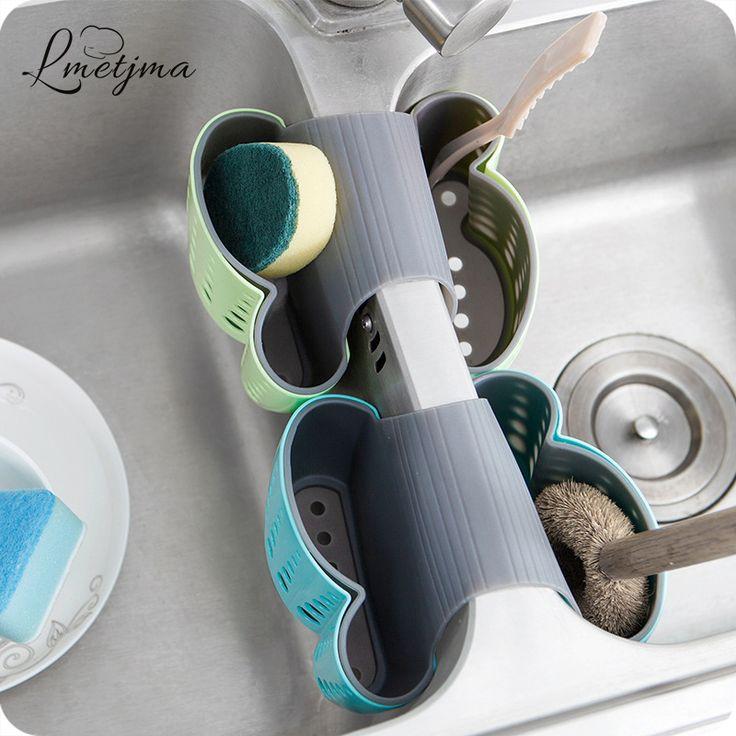 LMETJMA 2 Sisi Kitchen Sink Pemegang Tas Penyimpanan Gantung Saringan Spons Handuk Pengeringan Rak Sikat Pembersih Sikat Gigi Pemegang