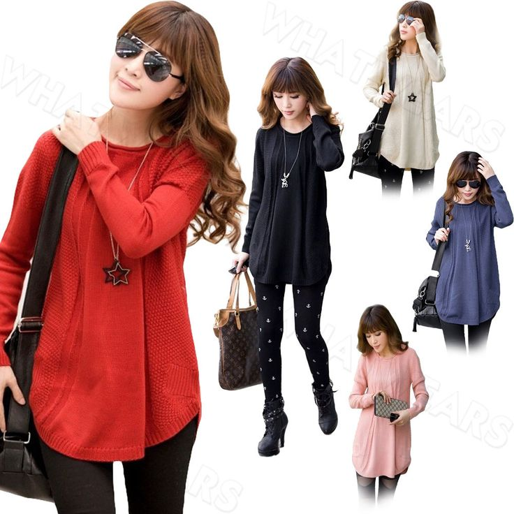 Women Crew Neck Long Sleeve Solid Color Pullover Loose Sweater Knitwear IDE #Whatwears