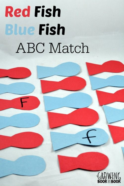 Dr. Seuss Activities: Red Fish Blue Fish ABC Match Memory Game is a great preschool activity.