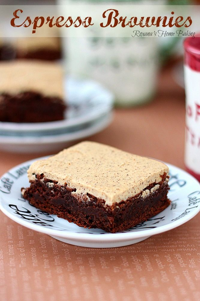 Espresso brownies with espresso frosting from Roxanashomebaking.com  Rich, sweet, chocolate-y with a strong coffee flavor