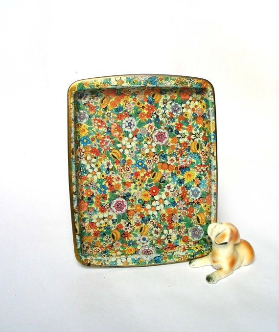 Vintage  Daher Decorated Ware Tray  Chintz style  by madlyvintage