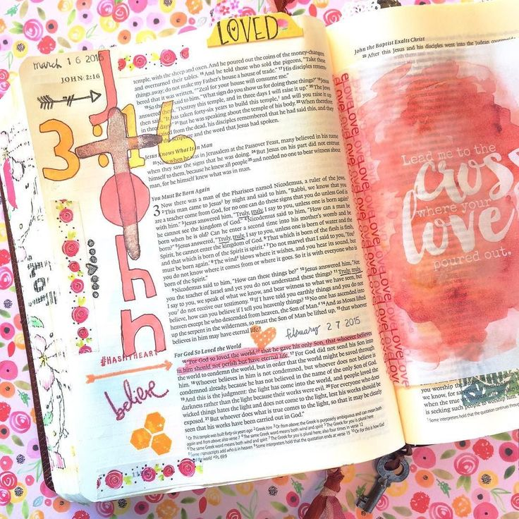 "Today I added an embellished ""John 3:16"" to a page in my Bible that was already pretty full!  I'm so thankful that God loved me enough to send His Son giving me the free gift of eternal life by trusting in Christ.  Homespun alpha and other stamps washi tape and tab from Illustrated Faith (@dayspringcards) cross stamp from @growingmeadows etsy shop mostly versamagic chalk inks. #biblejournalingcommunity #newlife #biblejournaling #journalingbiblecommunity #john316 #illustratedfaith…"