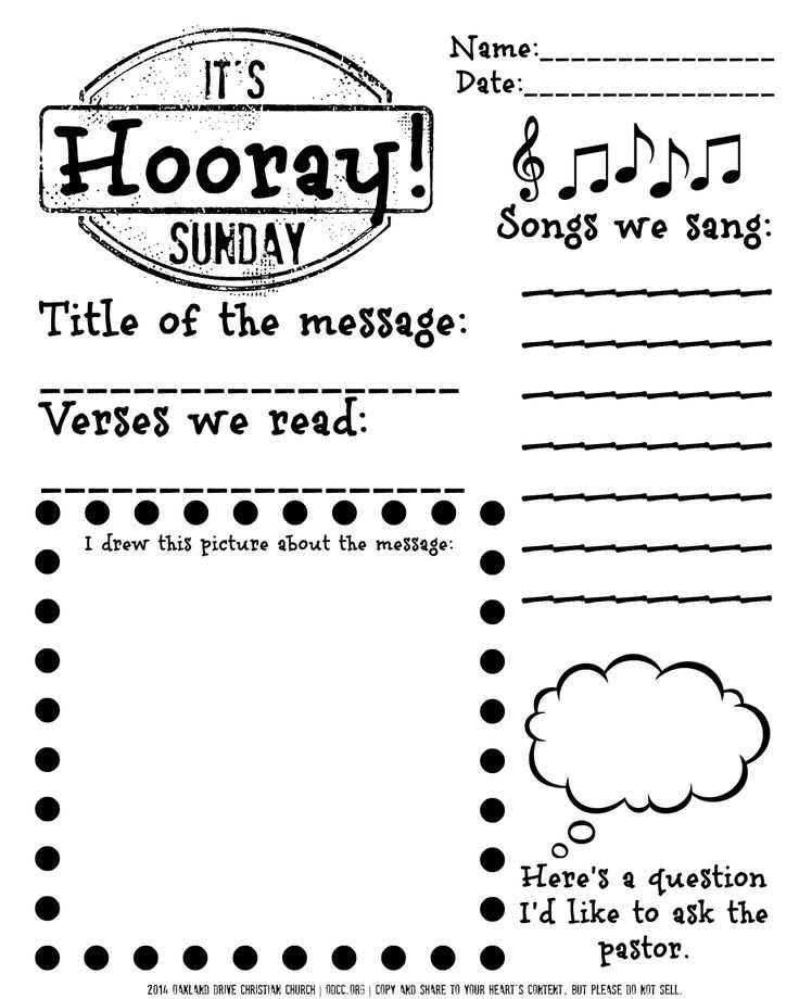 Free printable for children sitting through the worship service. Gives them a reason to follow along, take notes, and think through the service at their own level. Borrowed from an original idea at http://mmmcrafts.blogspot.com/p/free-printables.html, but tweaked for our own church.