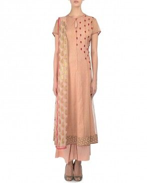Embroidered Blush Peach Indian Suit Anju Modi Collection