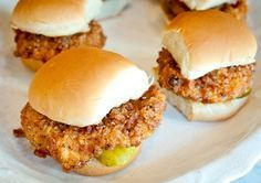 "Chicken Filet Sliders Recipe from Molly Quirk, Sips & Bites, Brooklyn: ""The buttered bun and pickles are crucial to this chicken filet slider sandwich, but without a doubt, the thing that makes this little guy so delicious is the chicken. These sliders will be great for your next football party!"""