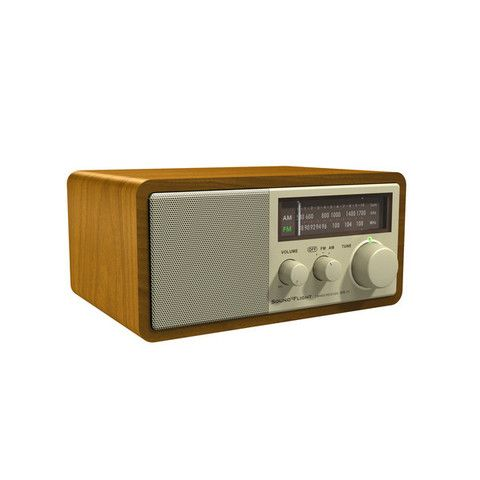 Walnut Wooden Radio - AM/FM Radio. Aux-in, Earphone Jack, 7W Speaker Output MAY