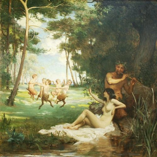 Pan and the Nymph, by George Percy Jacomb-Hood, 1896.