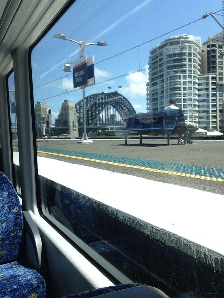 The Harbor Bridge, photo taken from a train that goes over the bridge :) Sydney, Australia :)