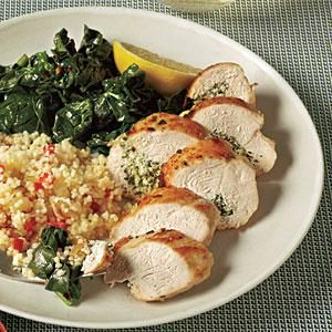 Dress up a basic chicken breast by stuffing with an herb and goat cheese mixture. Serve with fresh spinach sautéed with crushed red pepper.