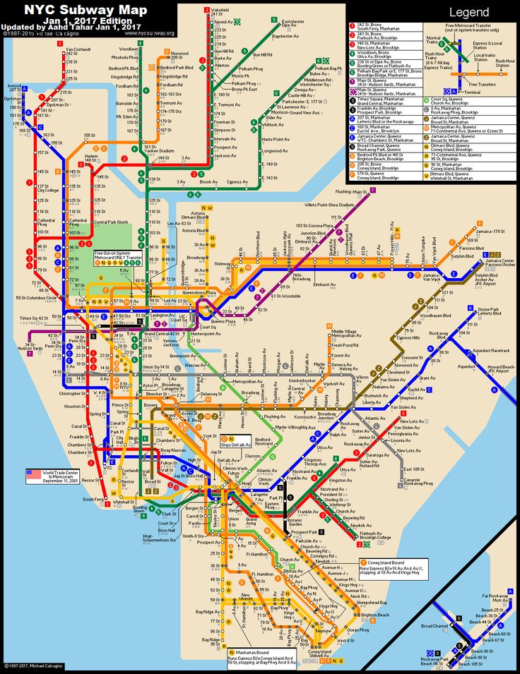 www.nycsubway.org: New York City Subway Route Map by Michael Calcagno